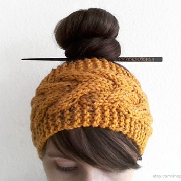 Ochre tweed cable knit headband, 2 sizes, yellow hand-knitted wool head wrap, wide ear warmer, handmade cold weather accessory, honey, gift