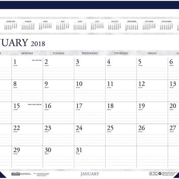 "House of Doolittle Desk Pad Calendar, Perf. Top, Jan-Dec, 22""""x17"""", Gray/Blue Case Pack 3"
