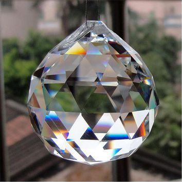50/60/70/80mm Crystal Hanging Balls Cut Faceted Glass Prism Chandelier Pendants Beads Curtain Hanging Ornament  Home Decor DIY