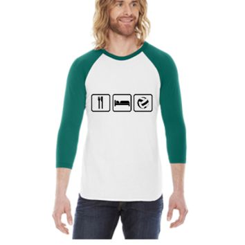 Eat Sleep Volleyball -  3/4 Sleeve Raglan Shirt