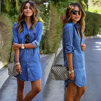 Womens Blue Denim Shirts Dress Top Gift-45
