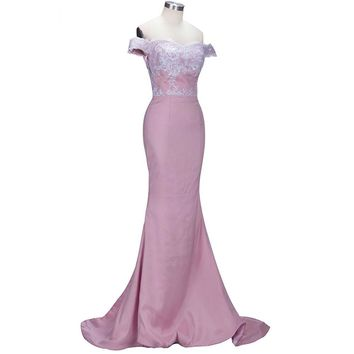 Charming Pink Lace Applique Sexy new Mermaid Long Bridesmaid Dresses Maid Of Honor Off the Shoulder Wedding Party Gowns