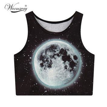 Moon Printed Summer Fashion Women Crop Tops Sexy Tank Tops Vintage Tops Girls Shirt Personality Cropped tumblr