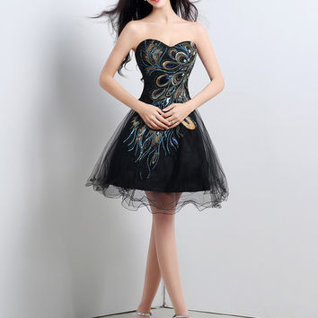 Black Peacock Tail Sequined Embroidery Strapless Mini Dress
