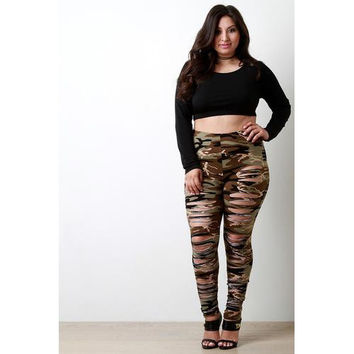Camo Razor Cut Leggings