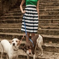 Kelly Green Top with Navy Striped Skirt Bottom Dress