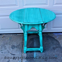 Bayside Blue Vintage Table /Accented with Dark Glaze /Shabby Chic /Upcycled Vintage /Distressed