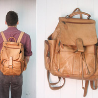 Large Tan Leather Drawstring Backpack by FancyPhantom on Etsy