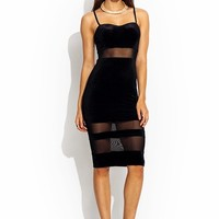 Velvet Sweetheart Mesh Inset Dress