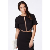 Missguided - Roza Black Mesh Detail Tailored Crop Top