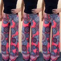 Floral Tribal Wide Leg Palazzo Trousers Baggy Pants Women Boho High Waist Long = 1932892484