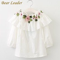 Children's Blouses Long Sleeve Floral Embroidery Girls Shirts New Fashion Children for Girls Clothes