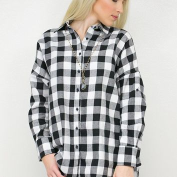 Gingham Flannel High- Low Tunic | Black