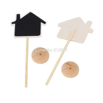 10pcs House Shape Shape Mini Blackboard Stick Stand Place Holder Chalkboard Table Number Sign Wedding Party Decor