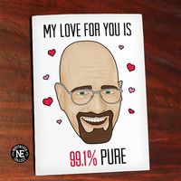 My Love For You is 99.1% Pure - Funny Valentine's Card - TV Show Valentines Card - Red Pink and White Valentines - 4.5 X 6.25 Inches