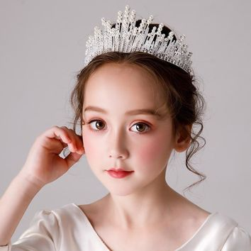 Girls Wedding Tiara Children Flower Girl Crystal Rhinestones Heart Shaped Crown (Silver/gold)