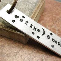 $14.95 Love You to the Moon Aluminum Bar Key Chain hand by riskybeads