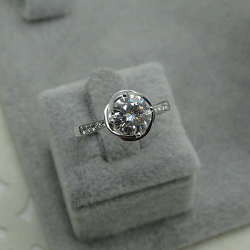 Custom made 1ct Brilliant Moissanite Engagement ring Rose gold,Diamond wedding band,14k,Round Cut,Gemstone Promise Ring,Bridal,NEW DESIGN