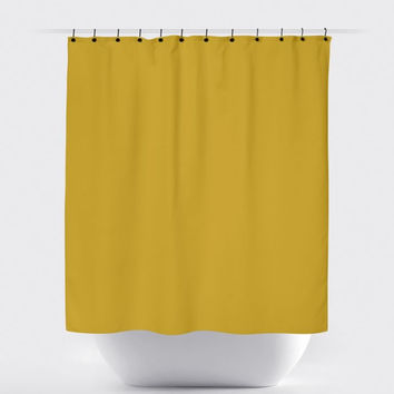 Solid Mustard Shower Curtain