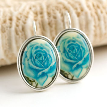 turquoise floral earrings blue Vintage style floral drop earrings blue drop earrings antiqued silver turquoise dangle earrings