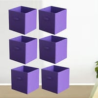 6 Pieces Purple Storage Box Household Organizer Fabric Cube Bin Basket Container