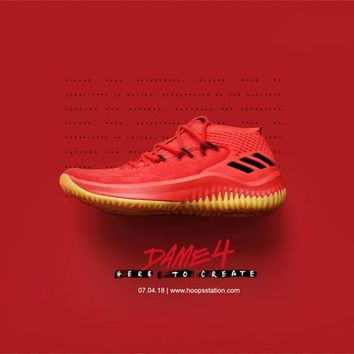 "Damian Lillard!adidas Dame4 400Degreez ""Red"" Basketball Shoes CQ0186"