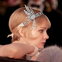 The Great Gatsby Hair Accessories Crystals Pearl Tassels Hair  Headband Hair Jewelry Wedding Bridal Hairband Tiaras and crowns