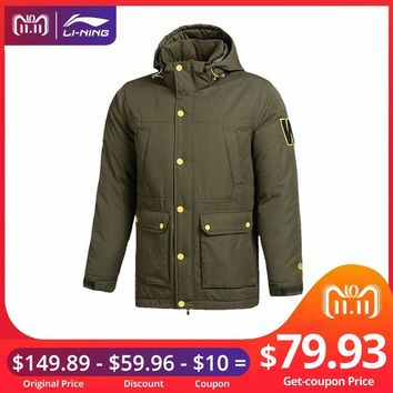 (11.11 Clearance)Li-Ning Men Wade Down Coat 70% White Goose Down Slim Hooded LiNing Sports Jackets AYML033 MWY306