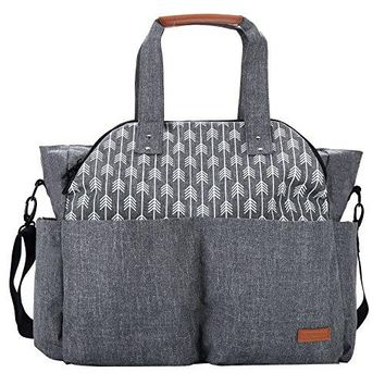 Baby Diaper Bag Tote Satchel Messenger Bag for Moms and Girls in Grey, Arrow Print