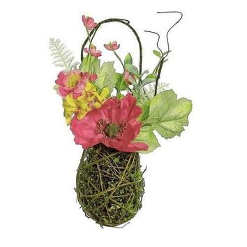 """12"""" Decorative Red Poppy and Orange Wildflower Artificial Floral Hanging Basket Wall Decor"""