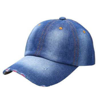 Vintage Men Women Hat Denim Baseball Ball Cap Casual Sun Unisex Plain Hats