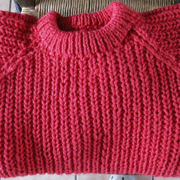 "Sweater, Men's and Women's Fishermans Rib Hand Knitted 30""-56"" plus size"
