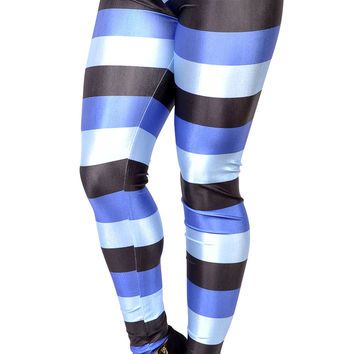 Black and blue horizontal stripes leggings size medium-tall