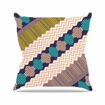 """Akwaflorell """"Knitted 3"""" Coral Teal Pattern Outdoor Throw Pillow"""