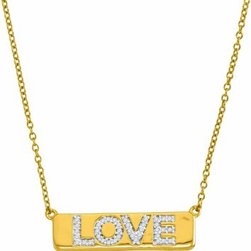 "10kt Yellow Gold Women's Round Diamond Love Bar Pendant Necklace with 18"" Chain 1-8 Cttw - FREE Shipping (US/CAN)"