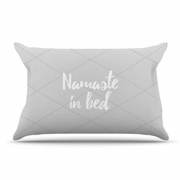 "KESS Original ""Namaste In Bed Grey"" White Gray Pillow Case"