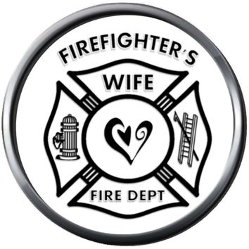 Heart Maltese Cross Fire Rescue Ladder Hydrant Fireman Firefighter Wife Thin Red Line Courage Under Fire 18MM-20MM Snap Charm Jewelry