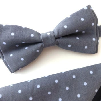 Grey Bow Tie and Pocket Square Set, Wedding Bow Tie, Man Bow Tie, Mens Bow Tie, Polka Dot Bow tie
