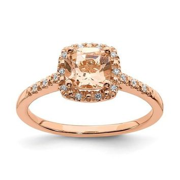 14k Rose Gold Morganite Cushion Diamond Halo Engagement Ring