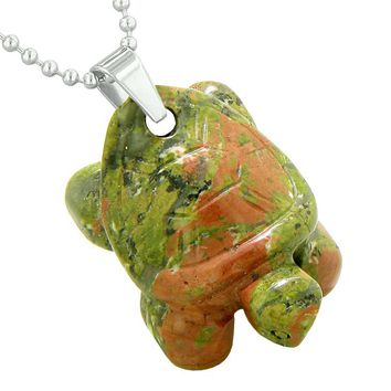 Amulet Turtle Cute Lucky Charm Healing Protection Powers Unakite Pendant 22 Inch Necklace