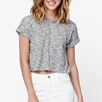 LunaChix Marled Ribbed Roll Cropped Top - Womens Tee - Black