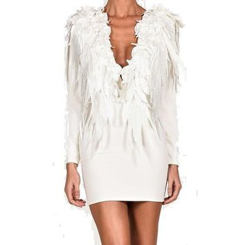 Women's Elegant White Angelic Deep V Neck Feather Long Sleeve Bodycon Dress