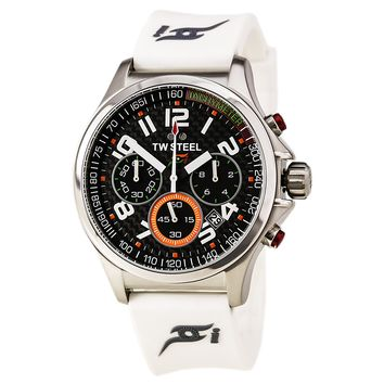 TW Steel TW428 Men's Sahara Force India Formula 1 Black Carbon Fiber Dial Chrono White Strap Watch