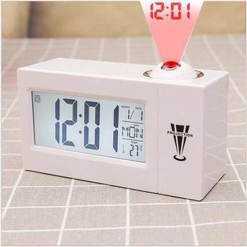 Multi-Function LED Digital Projection Alarm Clock Talking Electronic Desk Clock With Time Projection