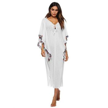 Cover ups Bikini Vertvie Sexy Beach Tunic Bikini  Women Tassel Beach Swim Long Dress Swimming Swimsuit Beachwears Covers Elastic Tunics KO_13_1