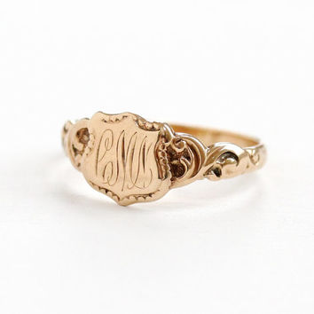 Antique Art Nouveau Monogrammed CMN 10k Rose Gold Ring - Vintage Early 1900 Swirl Shoulders Size 6 3/4 Initial Fine Signet Jewelry