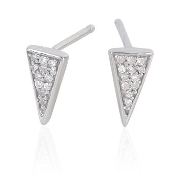 Adina Reyter Super Tiny Long Pave Triangle Posts SLV
