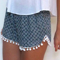 Blue Floral Elastic Waist Shorts with Pom Decor