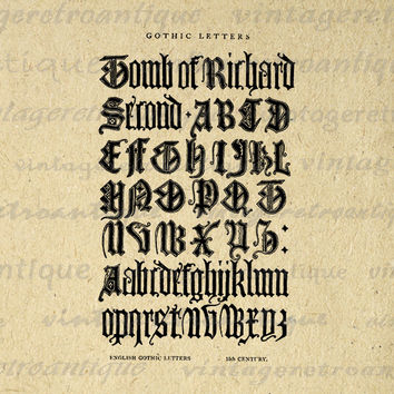 Printable Digital Medieval Alphabet from 15th Century Graphic Gothic Letters Image Download Vintage Clip Art Jpg Png 18x18 HQ 300dpi No.1010