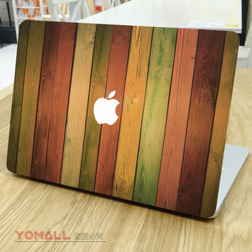Rainbow Wood Grain Front Cover Skin Laptop Sticker for Apple MacBook Decal Air Pro Retina 11 13 15 Mac Notebook Colorful Sticker